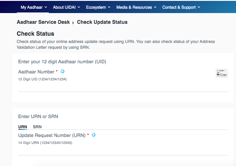 PaisaExpo Check Aadhaar Status URN